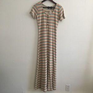 Gap Maxi Rainbow Stripe Maxi Dress